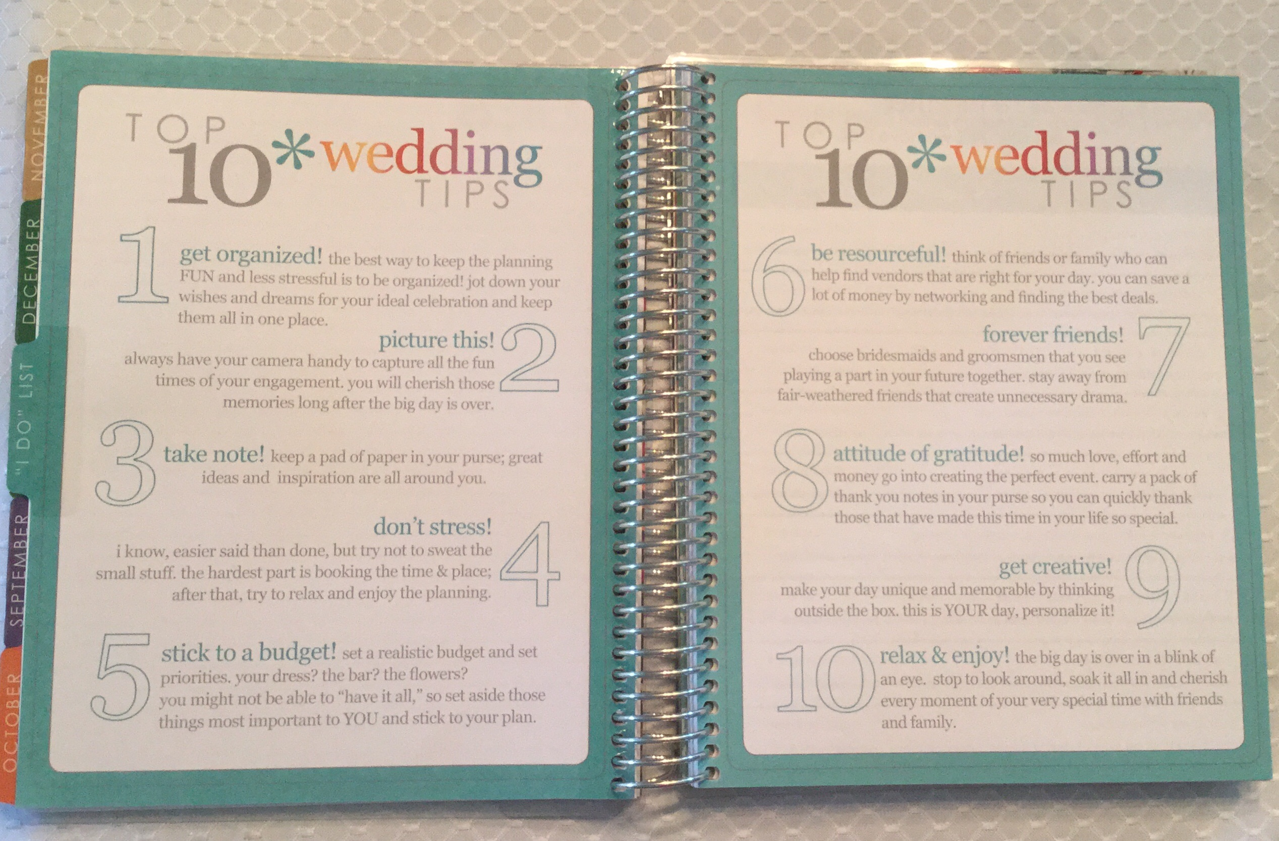 They Added A Cute Page After All The Calendars Of Top 10 Wedding Tips This Is Always Good Reminder When You Do Get Stressed Because Some These Are